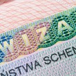 Schengen Visa in passport — Stock Photo