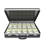 Black case with money — Stock fotografie