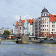 Stock Photo: Ethnographic and trade center, embankment of Fishing Village in Kaliningrad, Russia.