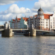 Stock Photo: Ethnographic and trade center, embankment of Fishing Village in Kaliningrad, Russia