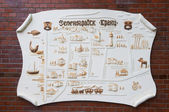 Sightseeing in Zelenogradsk. Schematic plan on the wall — Stock Photo