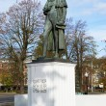 Постер, плакат: Statue of Johann Christoph Friedrich von Schiller a German poet philosopher historian and playwright in Kaliningrad Russia
