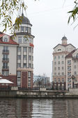 Fishing Village, embankment of the river Pregel. Kaliningrad. Russia — Stock Photo