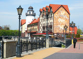 Ethnographic and trade center, embankment of the Fishing Village in Kaliningrad, Russia. — Stockfoto