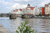 Ethnographic and trade center, embankment of the Fishing Village in Kaliningrad, Russia. — Stock Photo