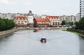 Ethnographic and trade center, embankment of the Fishing Village in Kaliningrad, Russia — Stock Photo