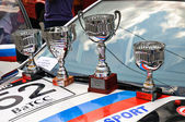 Winner Cup at sport car on the street on City Day of Kaliningrad celebration — Stock Photo