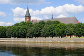 View to Kenigsberg Cathedral and embankment of Pregel river — Foto de Stock