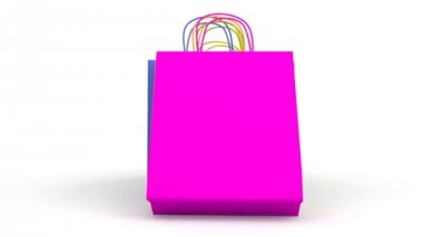 Colored paper shopping bags animation — Stock Video