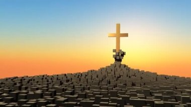 Rising cross — Vídeo Stock