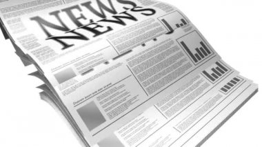 Animation of a newspaper with news related text, lorem ipsum text — Stock Video