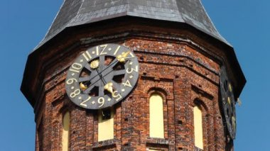 Clock on the cathedral. Kaliningrad — Wideo stockowe