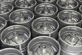 Metal beer kegs — Stock Photo