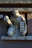 "Bas relief ""Work-mason."" Kaliningrad — Stock Photo"
