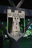 Sign inside castle Waldau — Stock Photo