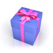 Blue gift box with ribbon — Stock Photo