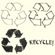 Hand drawn recycle sign — Vector de stock #12424484