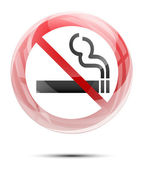 No smoking sign in the glossy glass — Stock Vector