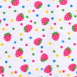 Strawberry pattern on white fabric — Stock Photo