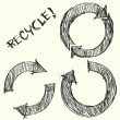Hand drawn recycle circle arrow — Stock Vector