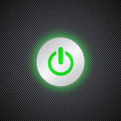 Green power button — Stock Vector