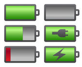 Set of battery charge level indicators — Stock Vector
