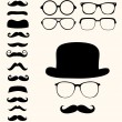 Retro mustaches hat glasses — Stock Vector