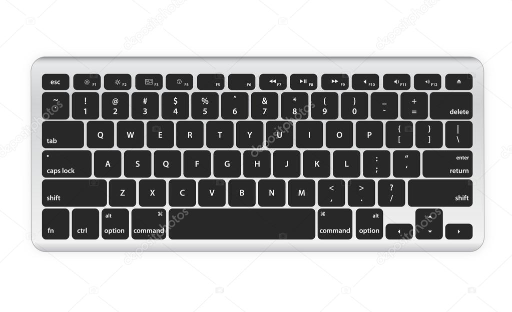 Black computer keyboard on white — Stock Vector #13129809