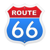 Route 66 sign in red and blue — Stock Vector