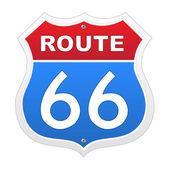 La route 66 segno in rosso e blu — Vettoriale Stock