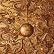 Gold dragon around the gold marble — Stock Photo