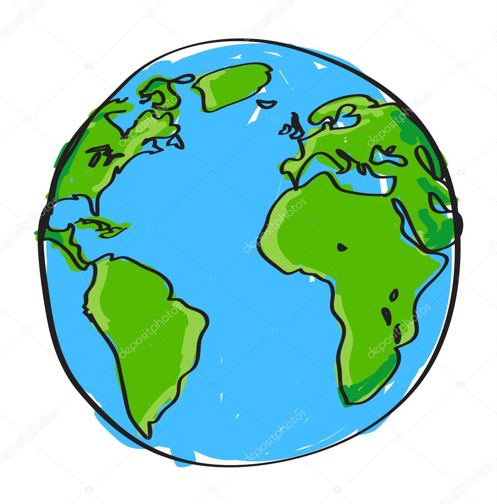 Hand drawn earth stock vector pockygallery 13443542 for Easy to draw earth
