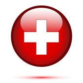 Flaga szwajcarii na przycisk — Wektor stockowy