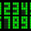 Set of green square digital number — Stockvectorbeeld
