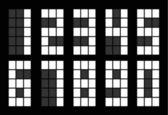 Conjunto de número digital cuadrado blanco — Vector de stock
