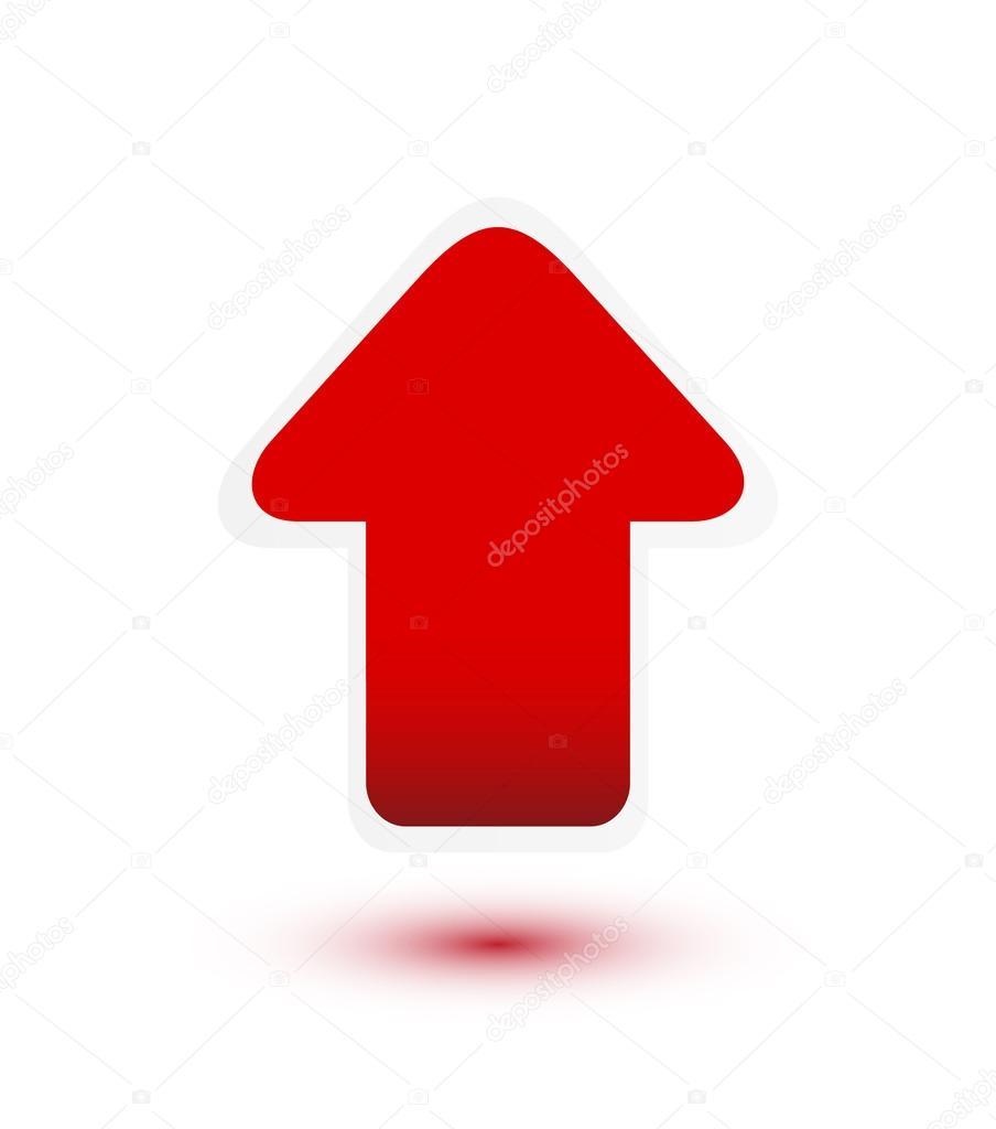 红色箭头键向上白底 — 图库矢量图片 #14613245