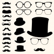 mustaches hats glasses — Stock Vector