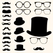 ストックベクタ: Mustaches hats glasses