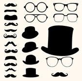 Bıyıklar şapka gözlük — Stok Vektör