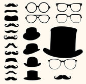 Mustaches hats glasses — Stockvector