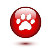 Paw on red button — Stock Vector