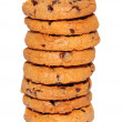 Chocolate chips cookies stack — Stock Photo