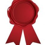 Red wax seal ribbon — Stock Vector