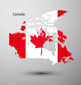 Canada flag on map — Stock Vector
