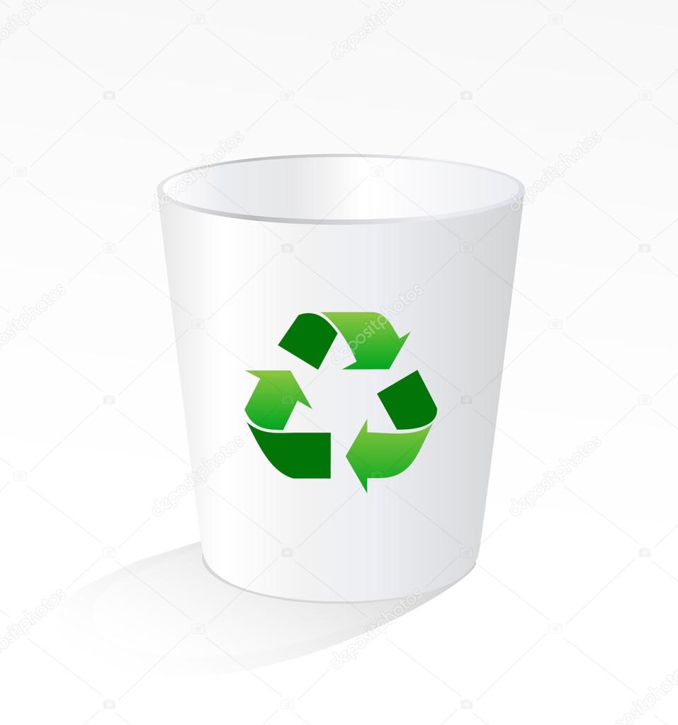 回收站_白色垃圾垃圾回收站与绿色回收标志 — 图库矢量图像© pockygallery ...