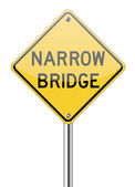 Narrow bridge traffic sign — Stock Vector