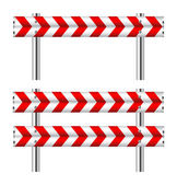 Red and white construction barricade — Stock Vector