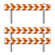 Orange and white construction barricade — Stock Vector