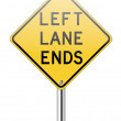 Left land ends traffic sign — Stock Vector #29085991