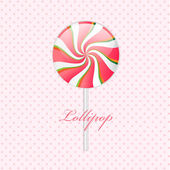 Pink lollipop on polka dotted — Stock Vector